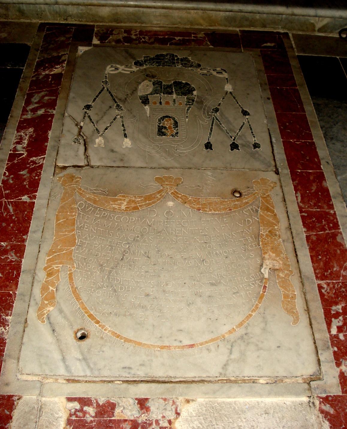 Lapide del vescovo Domenico  Morelli
