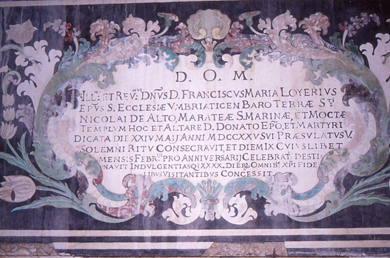 Vescovo Francesco Maria Loyero (1720 - 1731) consacra la cattedrale e l'altare