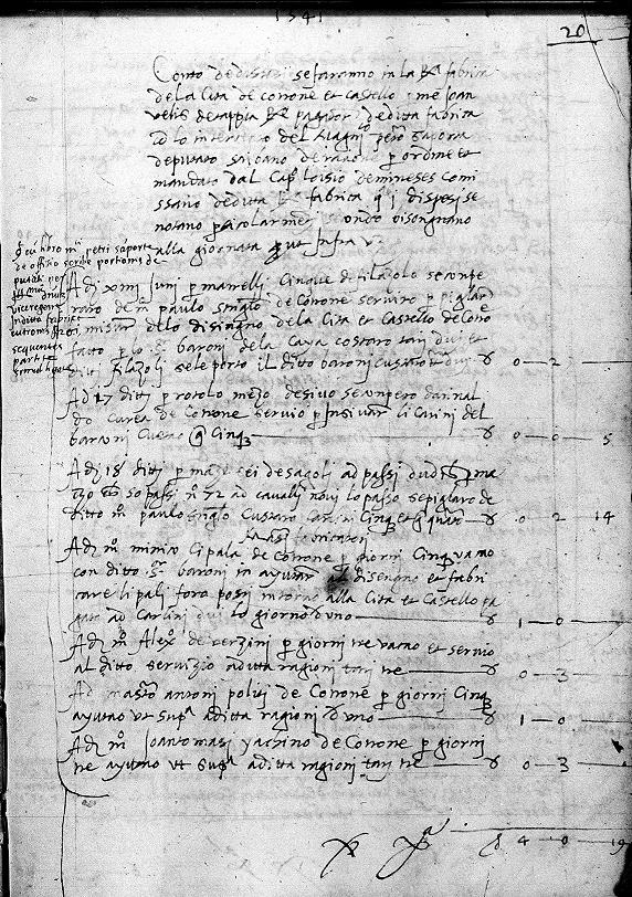 prima pagina delle spese per la regia fabrica di Crotone