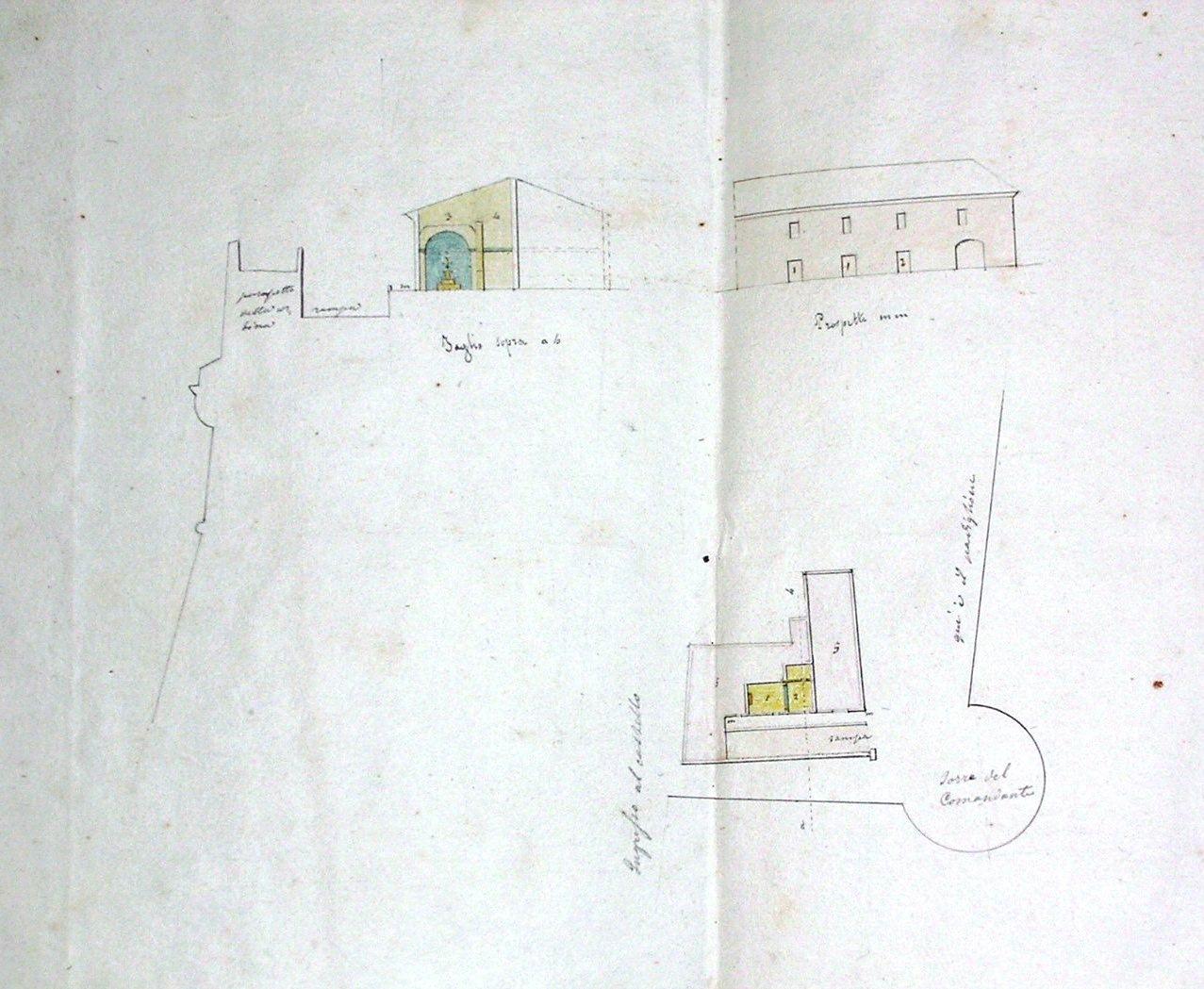 Schizzo castello crotone 1861