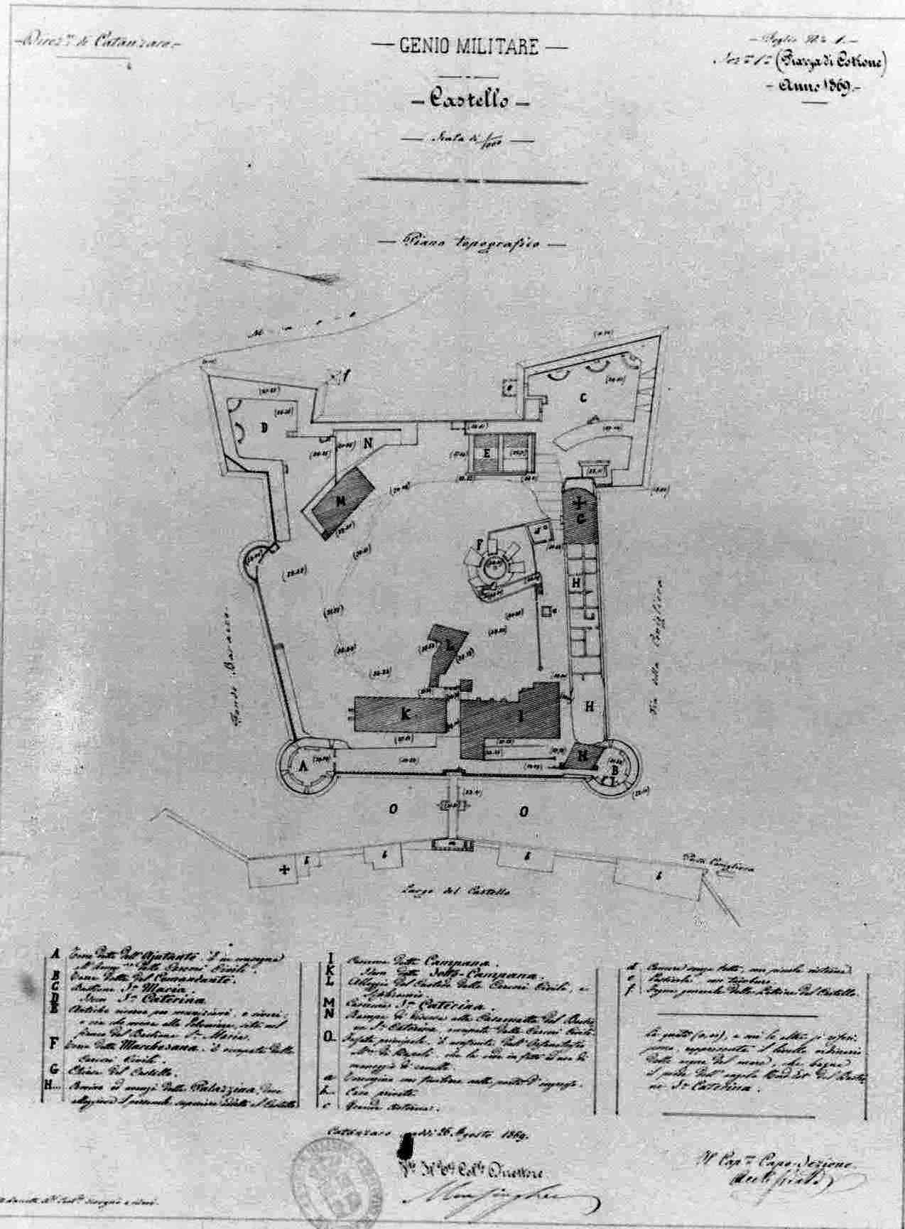 pianta del castello di Crotone 1869