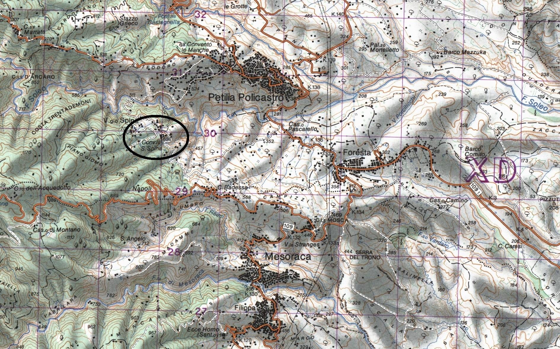 Cartina topografica Santa Spina Policastro