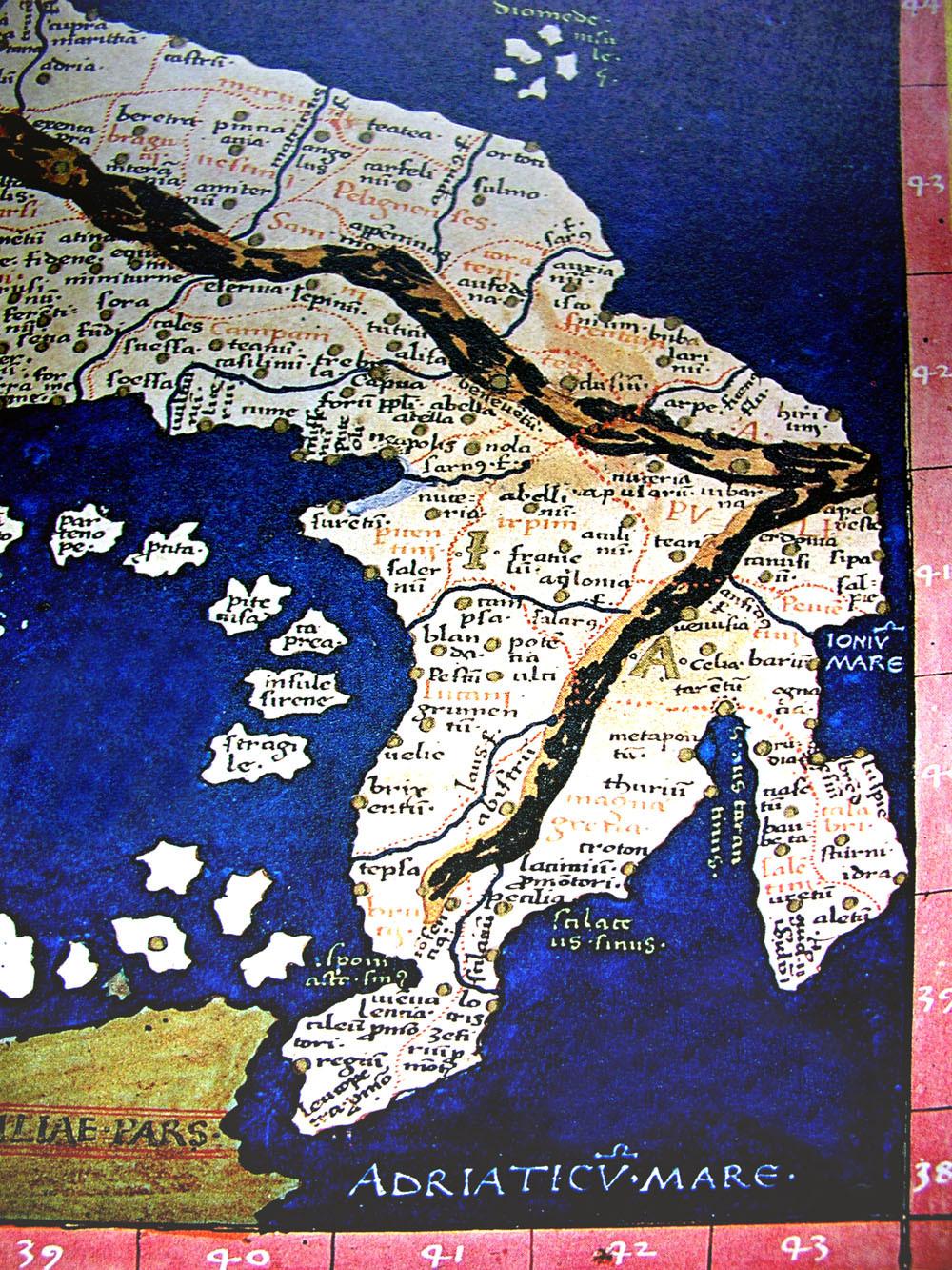 Carta tolemaica (dalla pagina Facebook Monumenta Cartographica Calabriae).