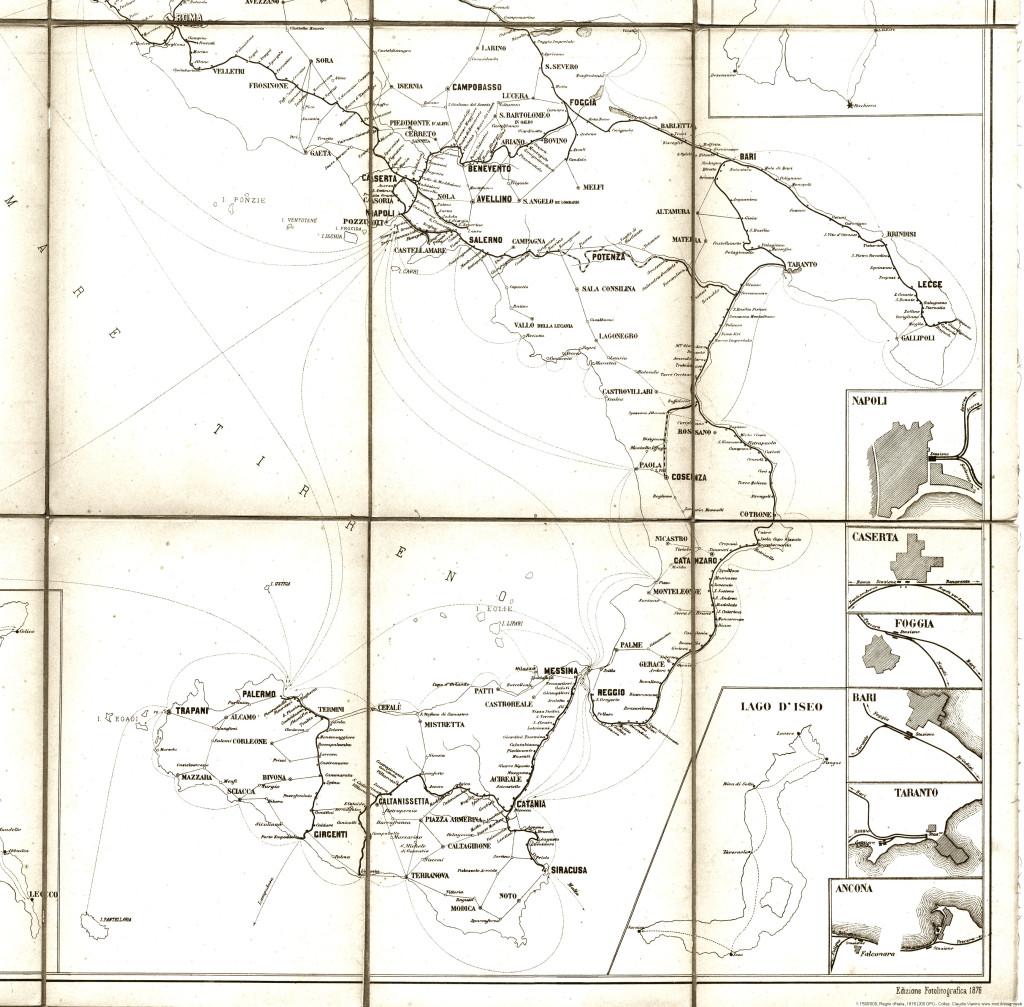 Carta delle ferrovie del regno d'italia 1876